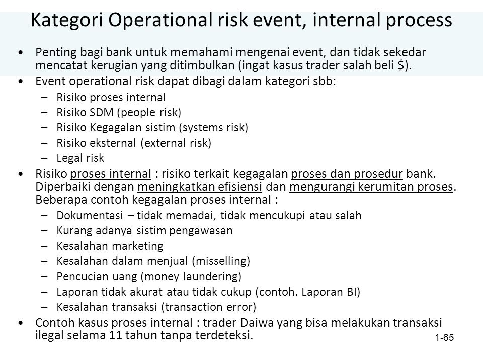 Kategori Operational risk event, internal process