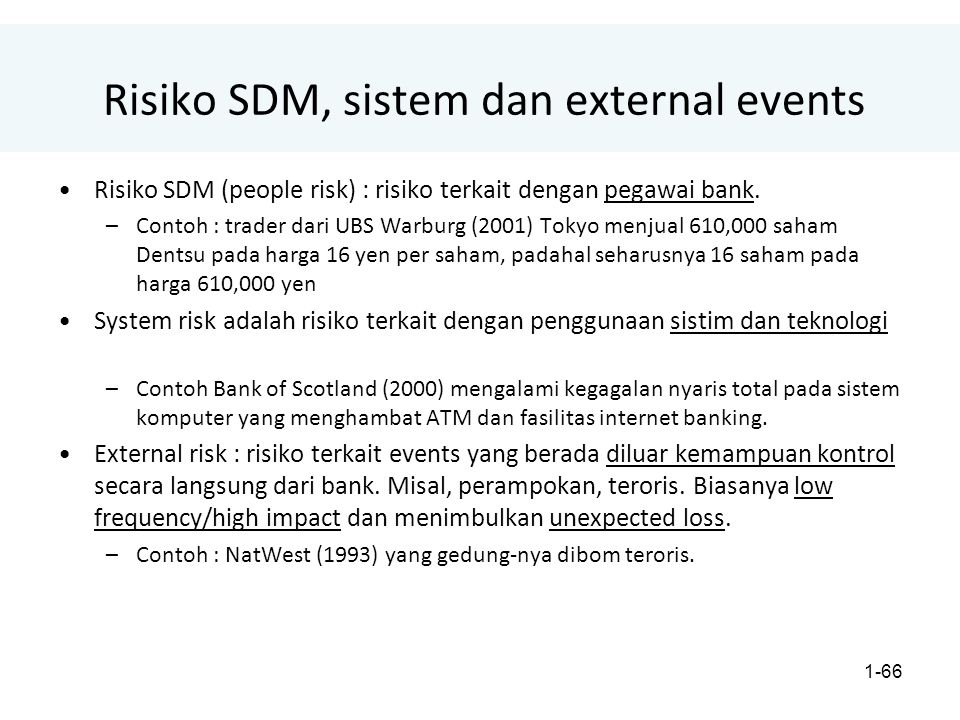 Risiko SDM, sistem dan external events