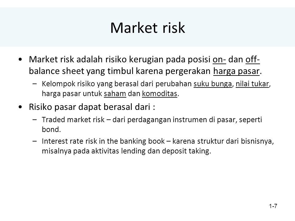 Market risk Market risk adalah risiko kerugian pada posisi on- dan off-balance sheet yang timbul karena pergerakan harga pasar.