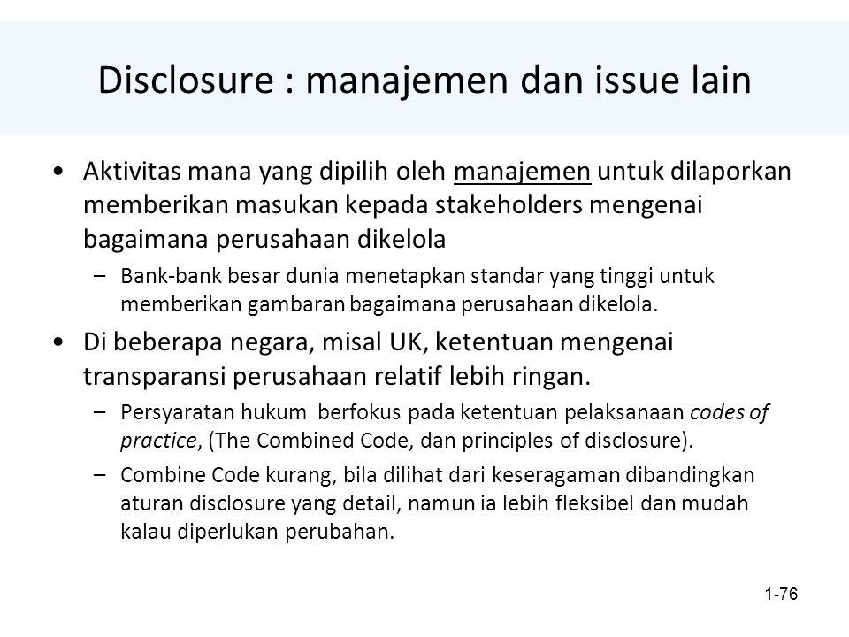 Disclosure : manajemen dan issue lain