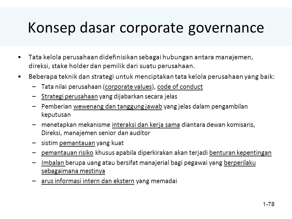 Konsep dasar corporate governance