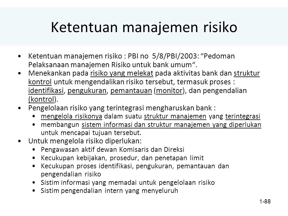 Ketentuan manajemen risiko