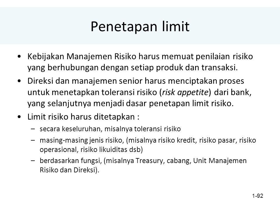 Penetapan limit Kebijakan Manajemen Risiko harus memuat penilaian risiko yang berhubungan dengan setiap produk dan transaksi.