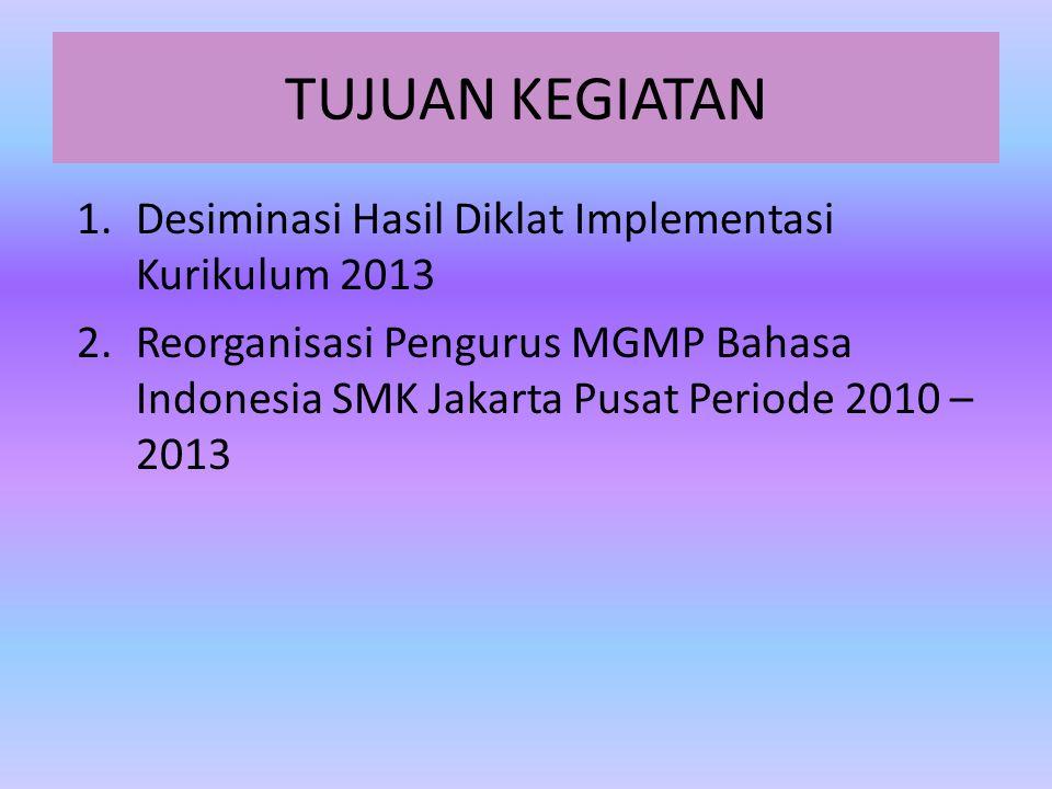 TUJUAN KEGIATAN Desiminasi Hasil Diklat Implementasi Kurikulum 2013