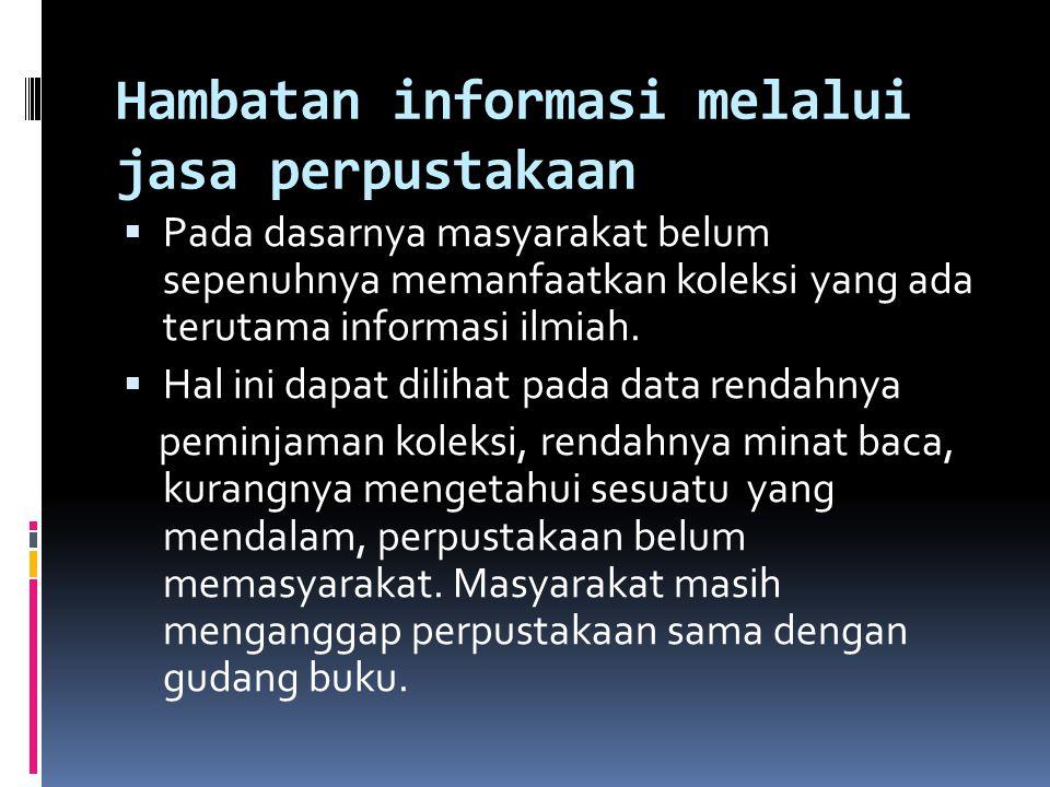 Hambatan informasi melalui jasa perpustakaan