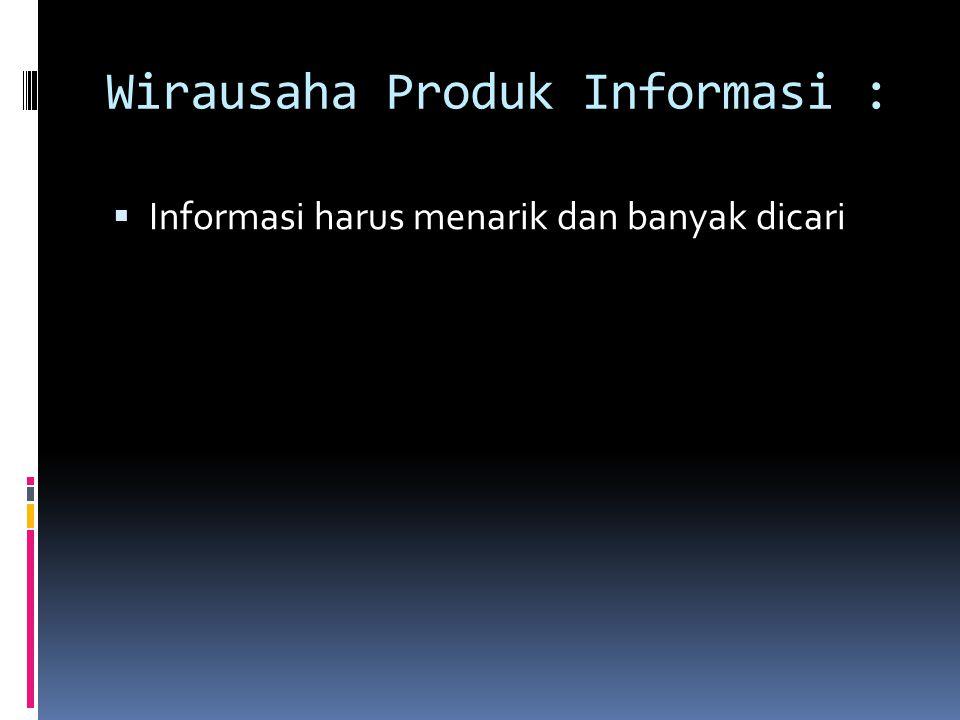 Wirausaha Produk Informasi :