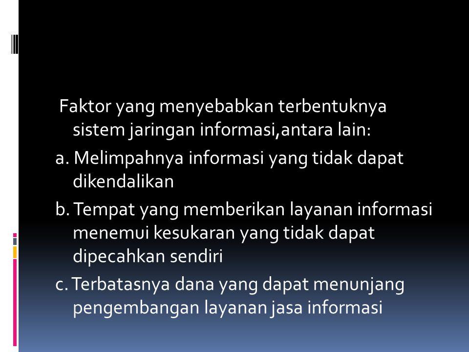 Faktor yang menyebabkan terbentuknya sistem jaringan informasi,antara lain: a.