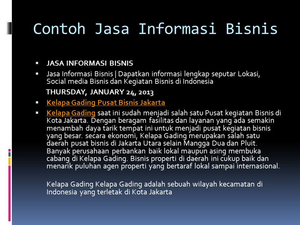 Contoh Jasa Informasi Bisnis