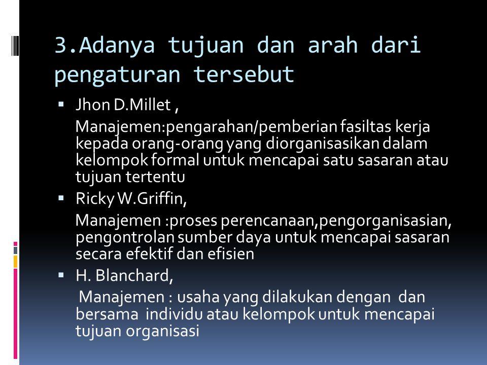 3.Adanya tujuan dan arah dari pengaturan tersebut