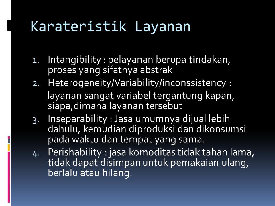Karateristik Layanan Intangibility : pelayanan berupa tindakan, proses yang sifatnya abstrak. Heterogeneity/Variability/inconssistency :