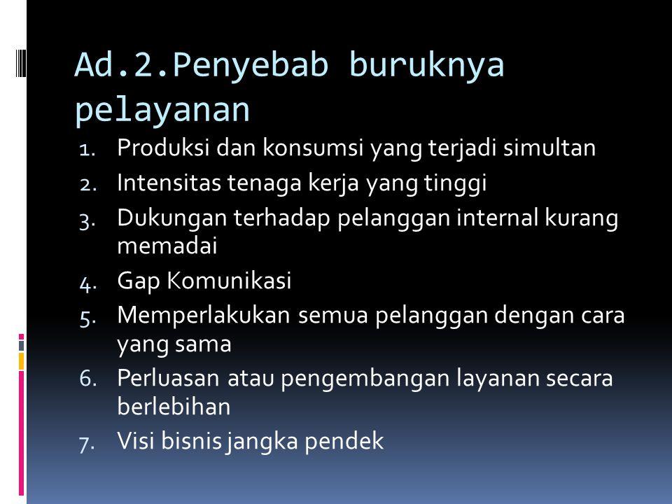 Ad.2.Penyebab buruknya pelayanan