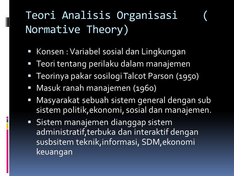 Teori Analisis Organisasi ( Normative Theory)