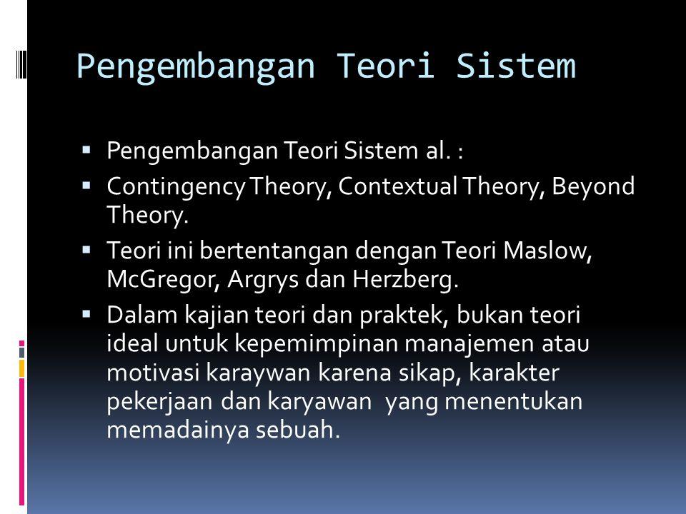 Pengembangan Teori Sistem