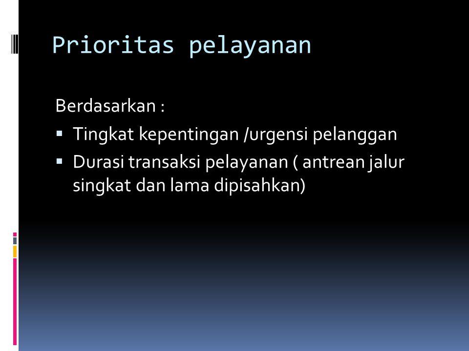 Prioritas pelayanan Berdasarkan :