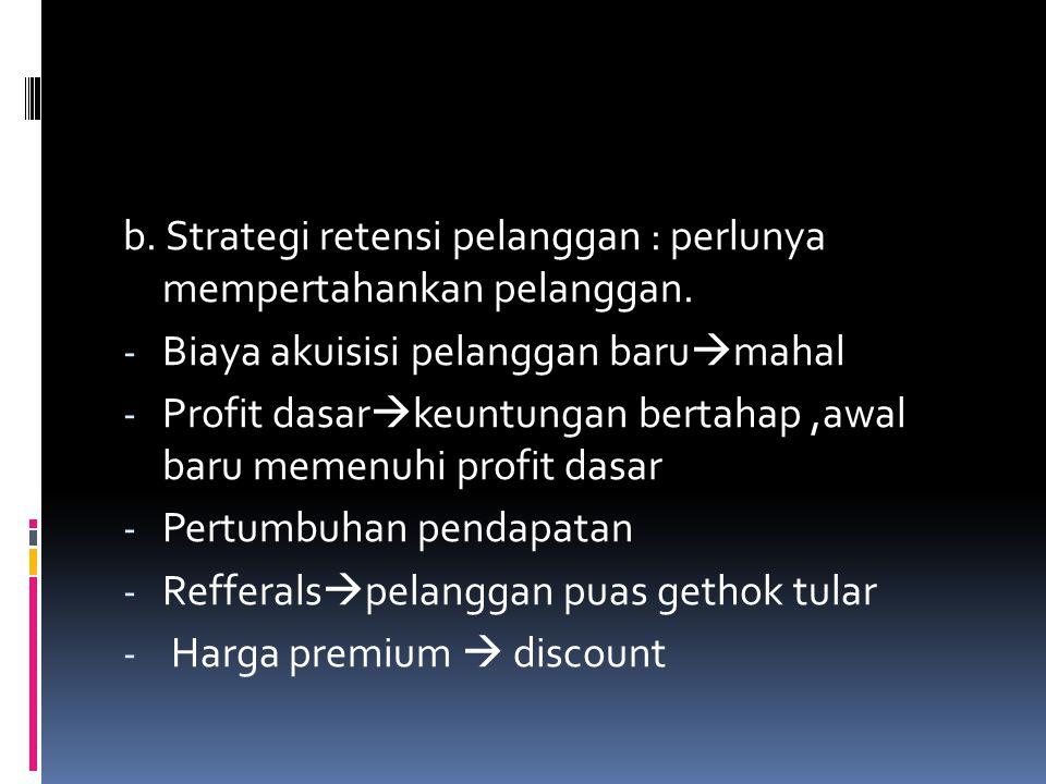 b. Strategi retensi pelanggan : perlunya mempertahankan pelanggan.