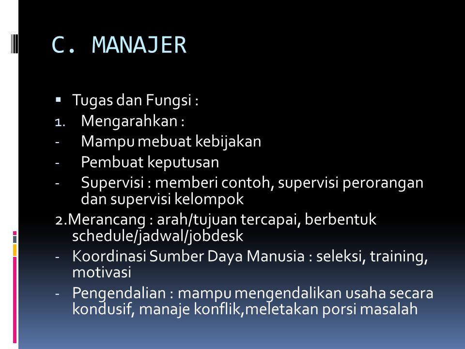C. MANAJER Tugas dan Fungsi : Mengarahkan : Mampu mebuat kebijakan