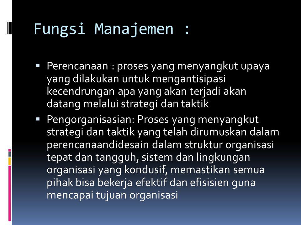 Fungsi Manajemen :