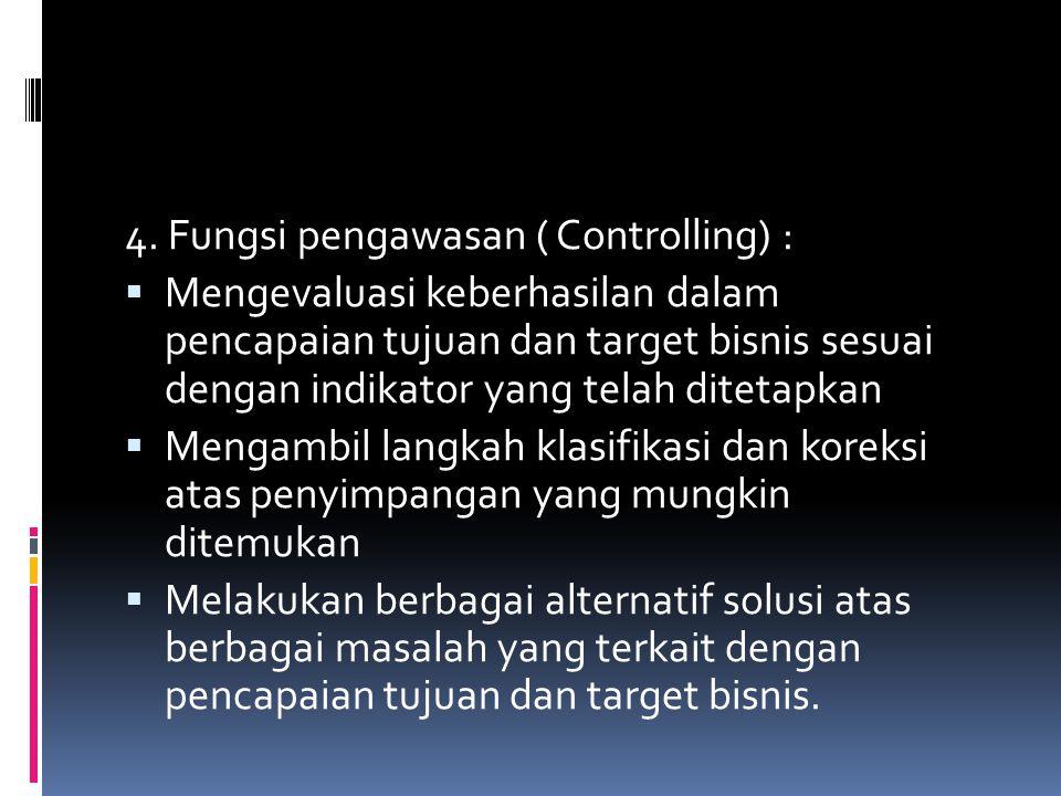 4. Fungsi pengawasan ( Controlling) :