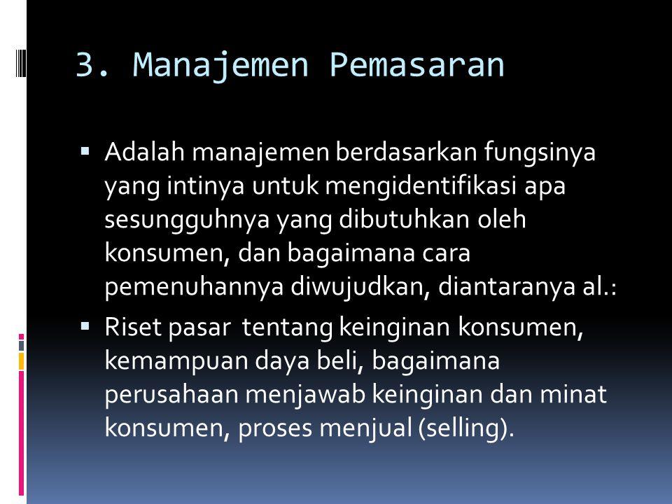 3. Manajemen Pemasaran