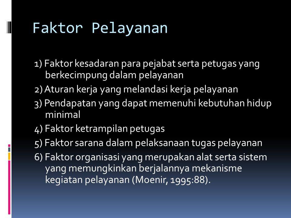 Faktor Pelayanan 1) Faktor kesadaran para pejabat serta petugas yang berkecimpung dalam pelayanan.