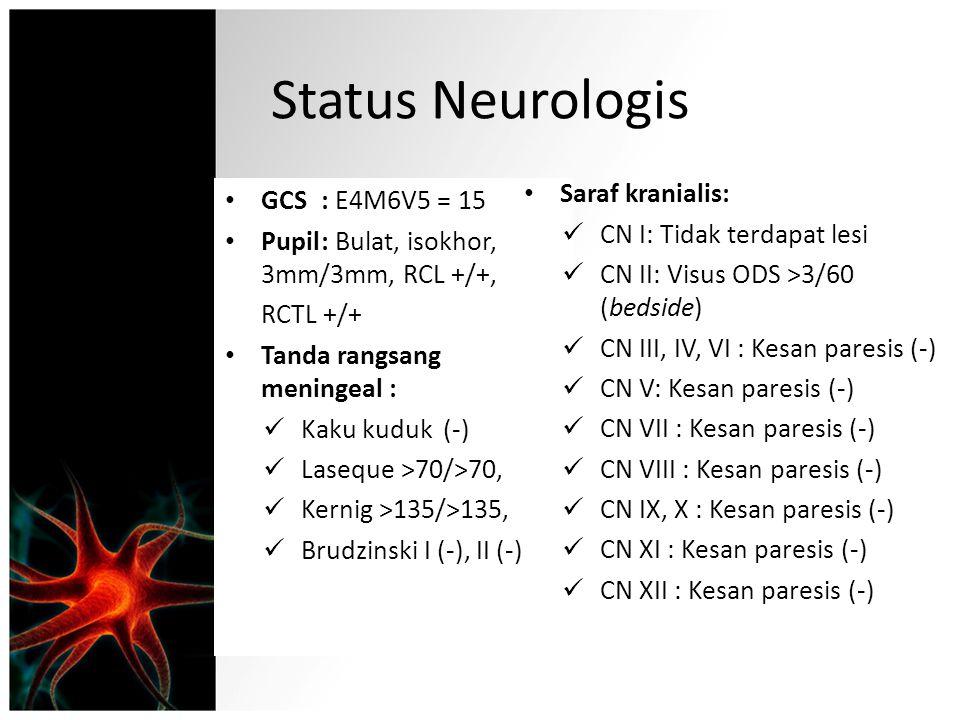 Status Neurologis Saraf kranialis: GCS : E4M6V5 = 15