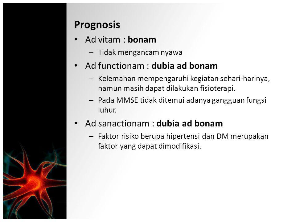 Prognosis Ad vitam : bonam Ad functionam : dubia ad bonam