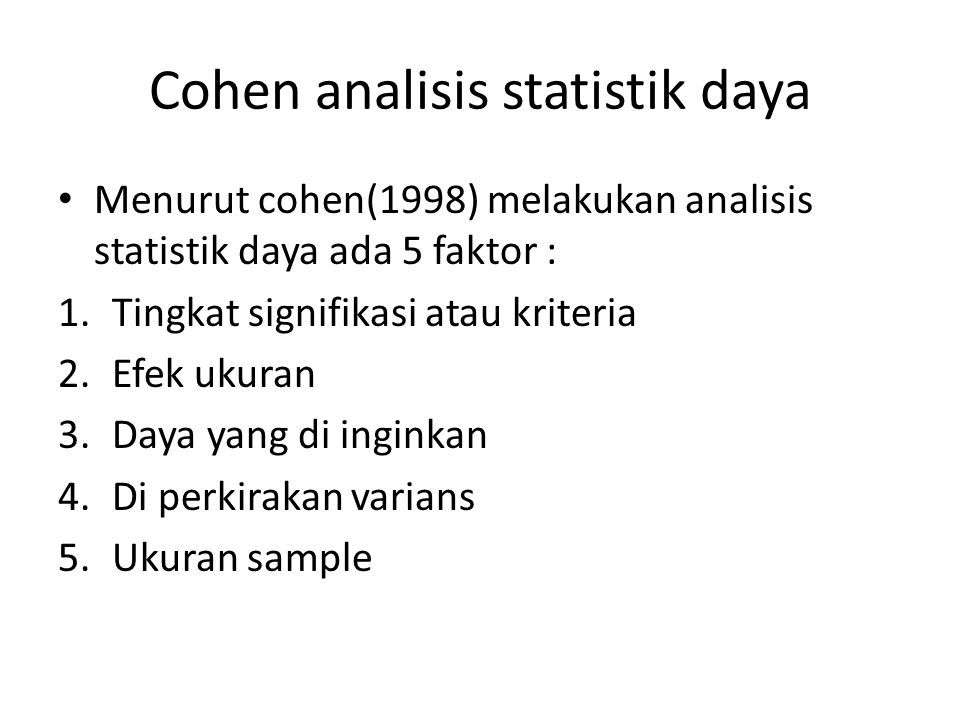 Cohen analisis statistik daya