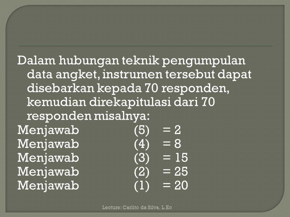 Dalam hubungan teknik pengumpulan data angket, instrumen tersebut dapat disebarkan kepada 70 responden, kemudian direkapitulasi dari 70 responden misalnya: Menjawab (5) = 2 Menjawab (4) = 8 Menjawab (3) = 15 Menjawab (2) = 25 Menjawab (1) = 20