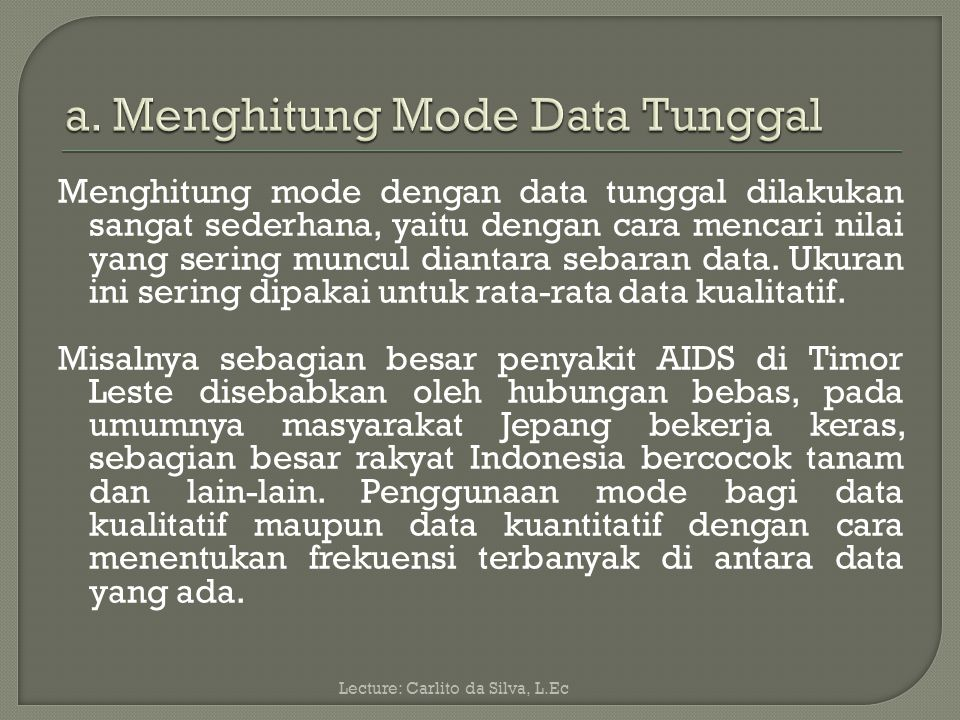 a. Menghitung Mode Data Tunggal