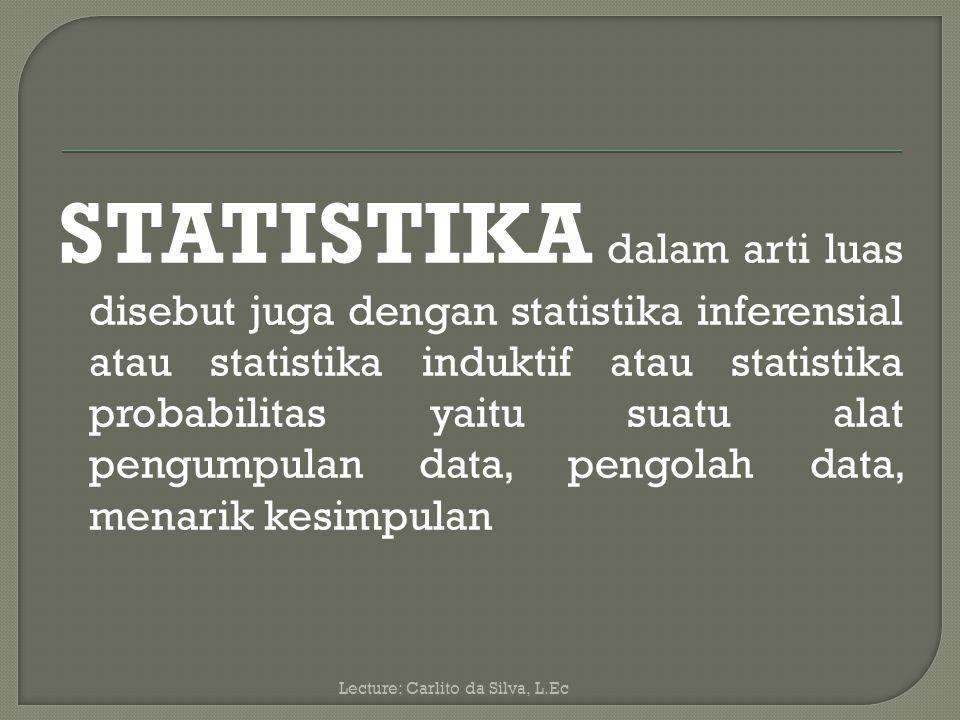 STATISTIKA dalam arti luas disebut juga dengan statistika inferensial atau statistika induktif atau statistika probabilitas yaitu suatu alat pengumpulan data, pengolah data, menarik kesimpulan