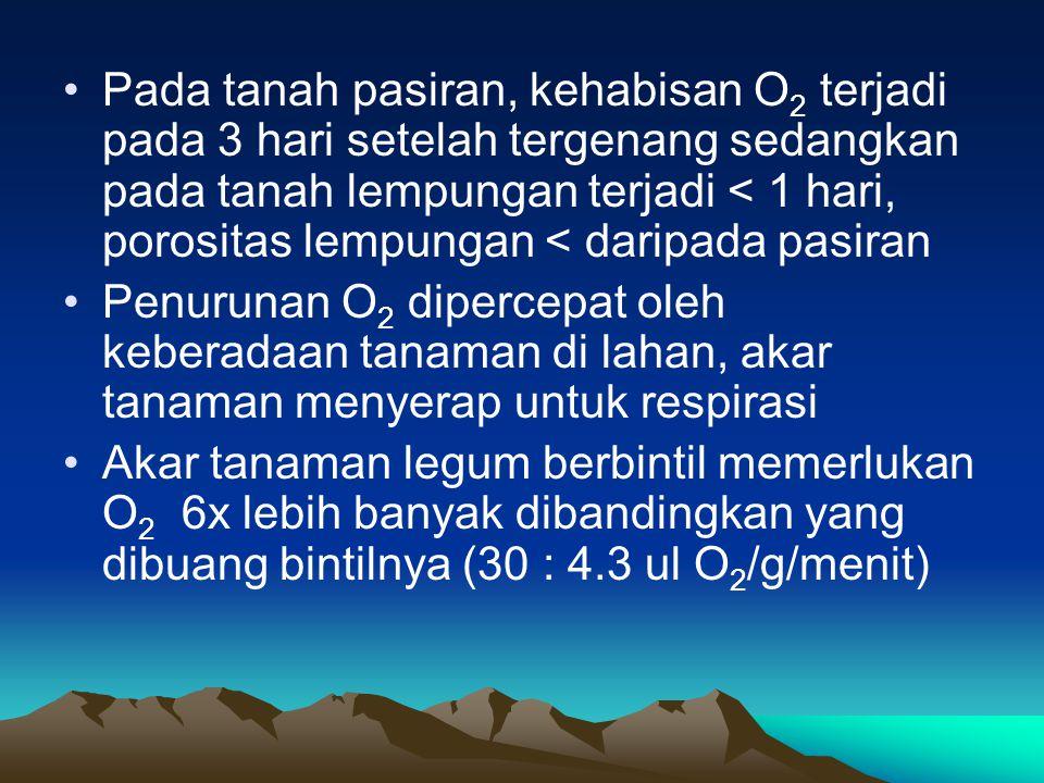 Pada tanah pasiran, kehabisan O2 terjadi pada 3 hari setelah tergenang sedangkan pada tanah lempungan terjadi < 1 hari, porositas lempungan < daripada pasiran