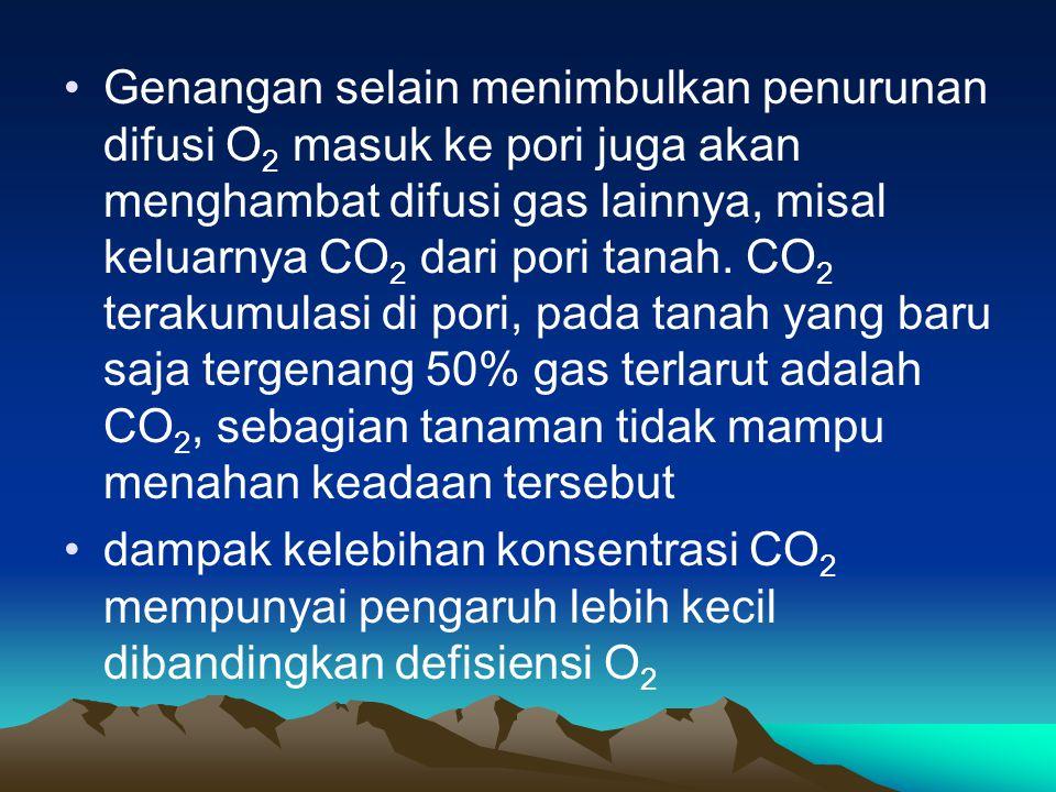 Genangan selain menimbulkan penurunan difusi O2 masuk ke pori juga akan menghambat difusi gas lainnya, misal keluarnya CO2 dari pori tanah. CO2 terakumulasi di pori, pada tanah yang baru saja tergenang 50% gas terlarut adalah CO2, sebagian tanaman tidak mampu menahan keadaan tersebut