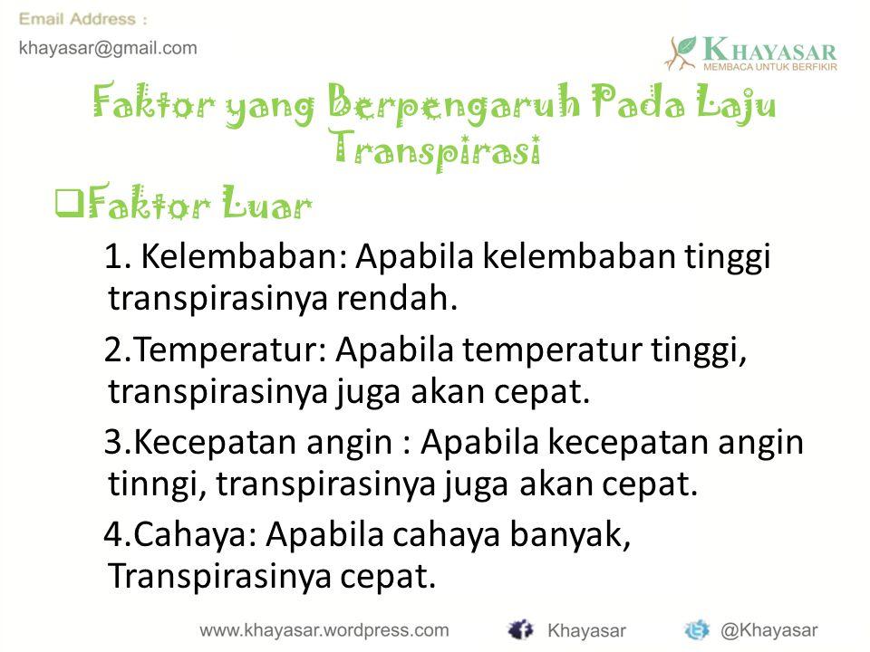 Faktor yang Berpengaruh Pada Laju Transpirasi