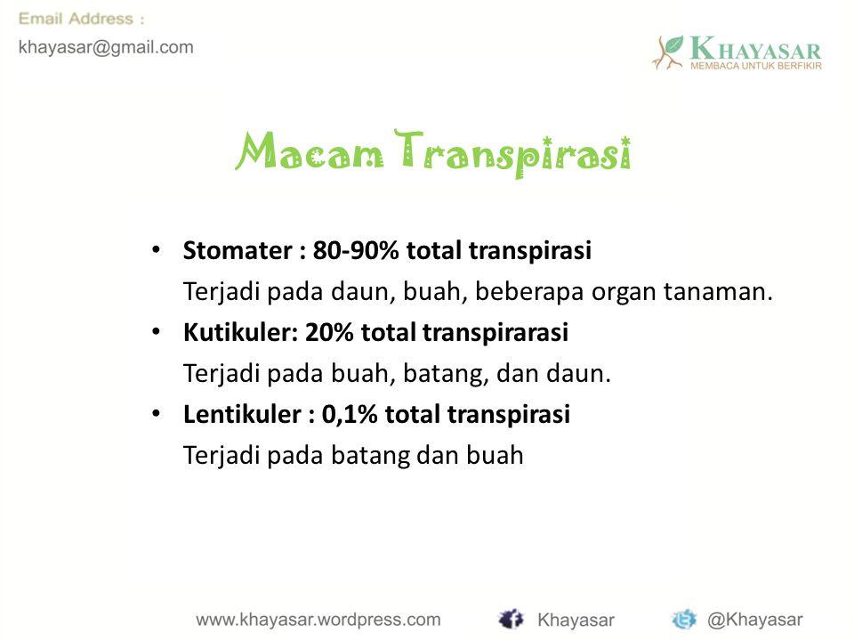 Macam Transpirasi Stomater : 80-90% total transpirasi