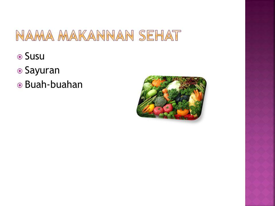 Nama makannan sehat Susu Sayuran Buah-buahan