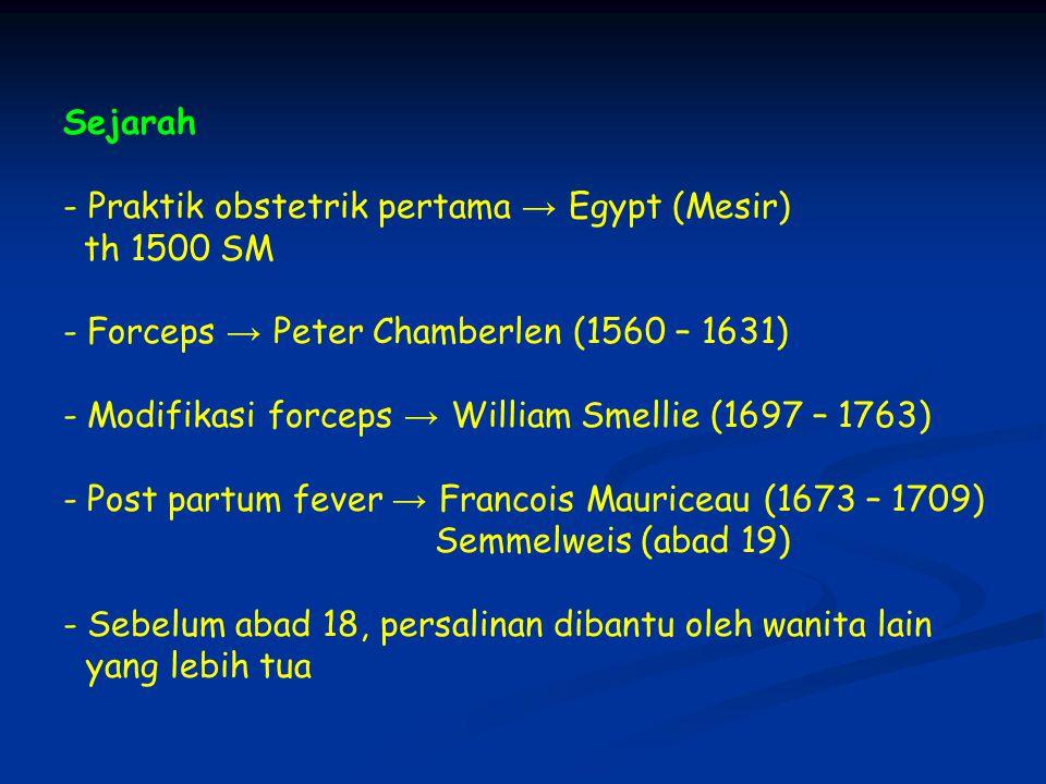Sejarah - Praktik obstetrik pertama → Egypt (Mesir) th 1500 SM. Forceps → Peter Chamberlen (1560 – 1631)