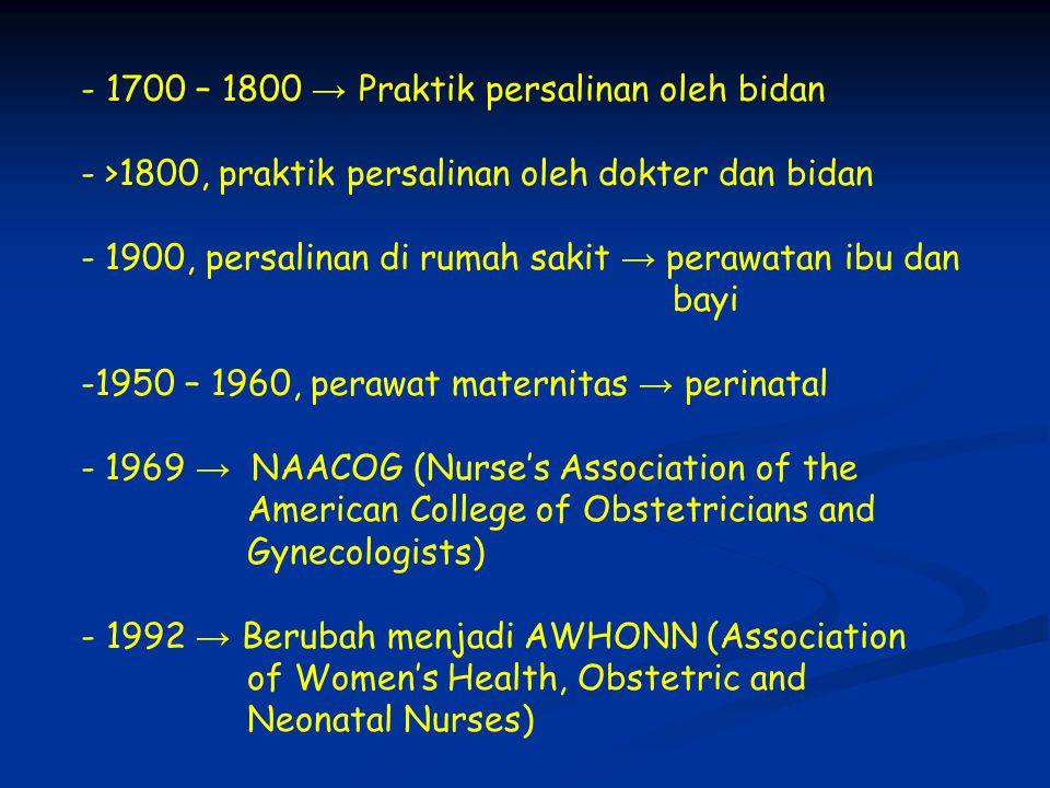 - 1700 – 1800 → Praktik persalinan oleh bidan