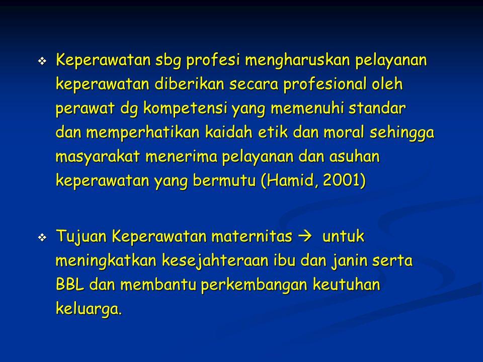 Keperawatan sbg profesi mengharuskan pelayanan keperawatan diberikan secara profesional oleh perawat dg kompetensi yang memenuhi standar dan memperhatikan kaidah etik dan moral sehingga masyarakat menerima pelayanan dan asuhan keperawatan yang bermutu (Hamid, 2001)