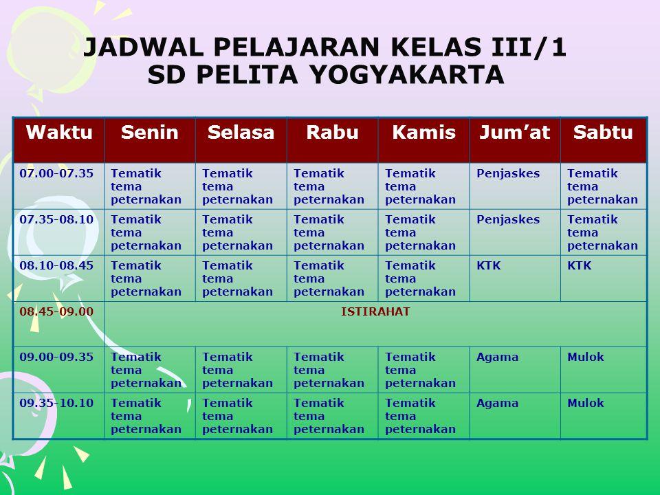 JADWAL PELAJARAN KELAS III/1 SD PELITA YOGYAKARTA