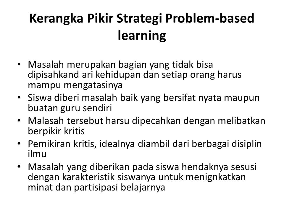 Kerangka Pikir Strategi Problem-based learning