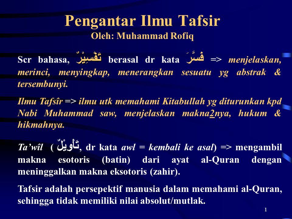 Pengantar Ilmu Tafsir Oleh: Muhammad Rofiq
