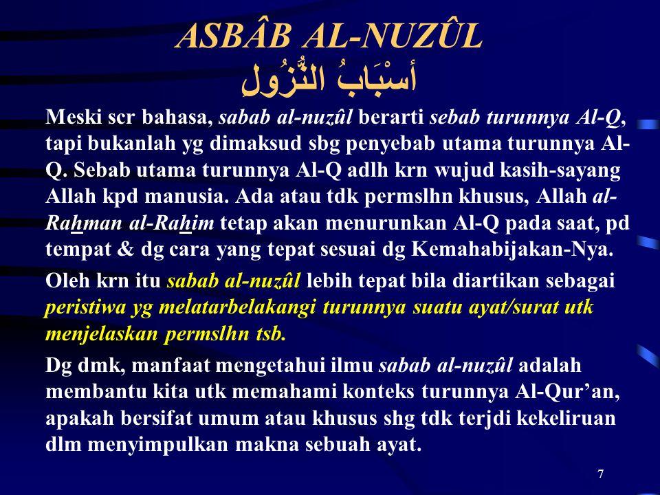 ASBÂB AL-NUZÛL أسْبَابُ النُّزُولِ