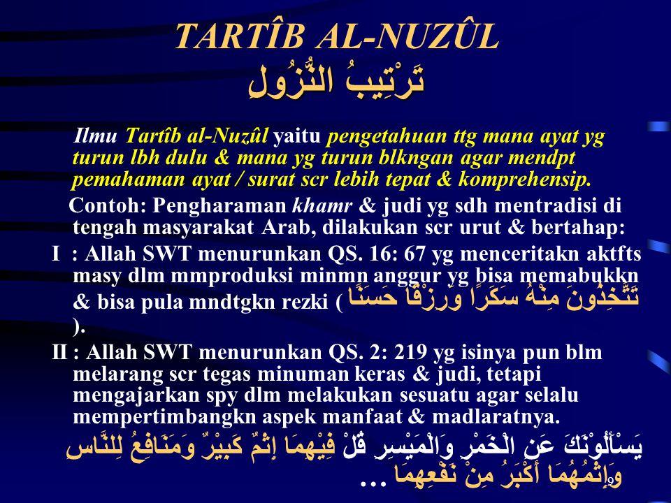TARTÎB AL-NUZÛL تَرْتِيبُ النُّزُولِ
