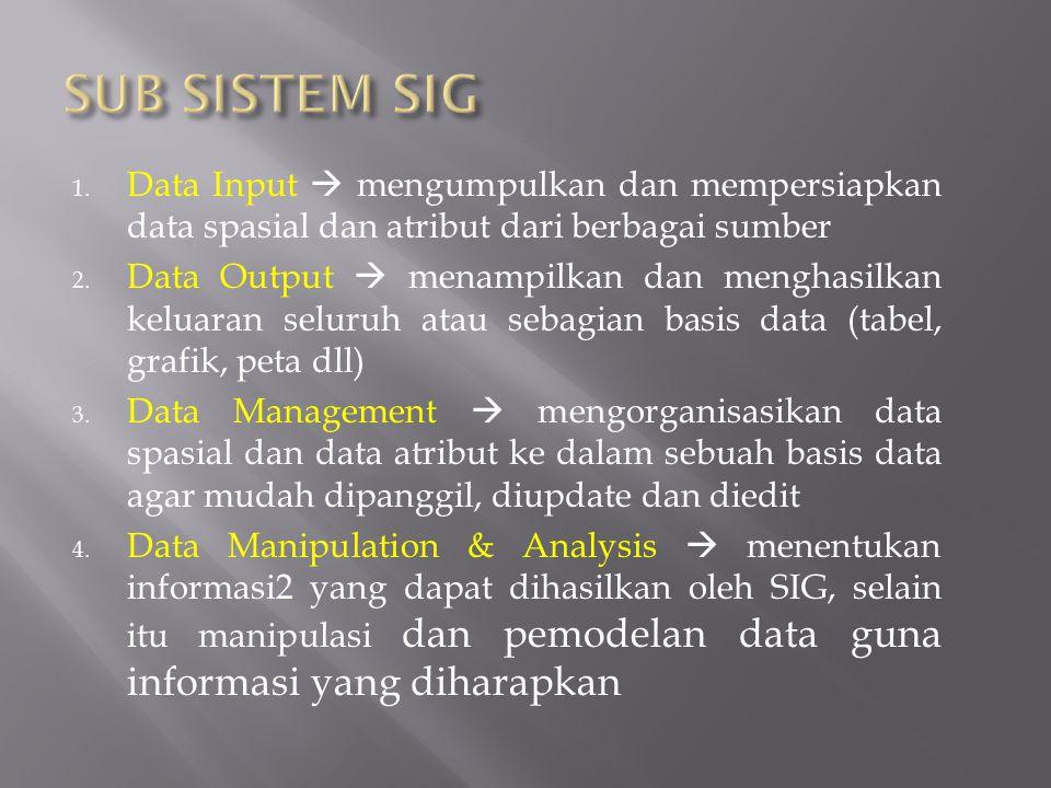 SUB SISTEM SIG Data Input  mengumpulkan dan mempersiapkan data spasial dan atribut dari berbagai sumber.