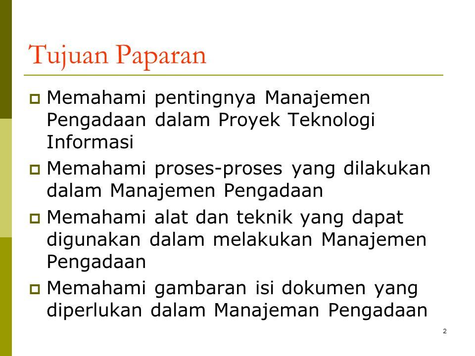 Tujuan Paparan Memahami pentingnya Manajemen Pengadaan dalam Proyek Teknologi Informasi.
