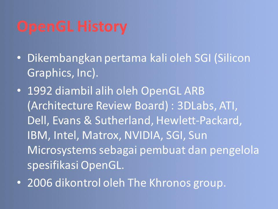 OpenGL History Dikembangkan pertama kali oleh SGI (Silicon Graphics, Inc).