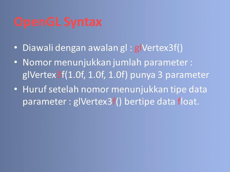 OpenGL Syntax Diawali dengan awalan gl : glVertex3f()