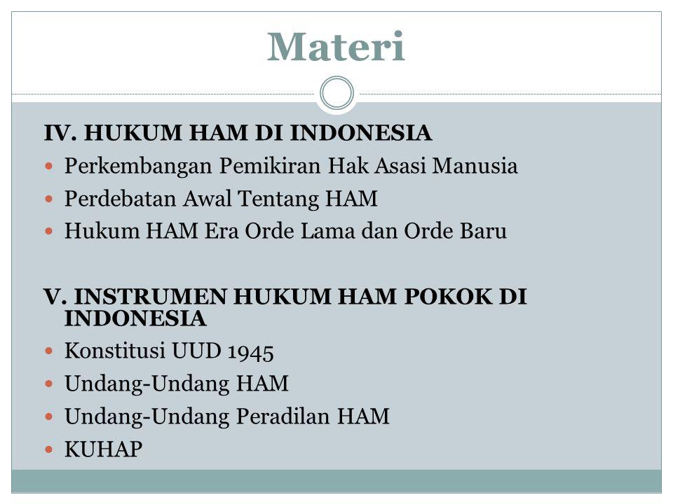 Materi IV. HUKUM HAM DI INDONESIA