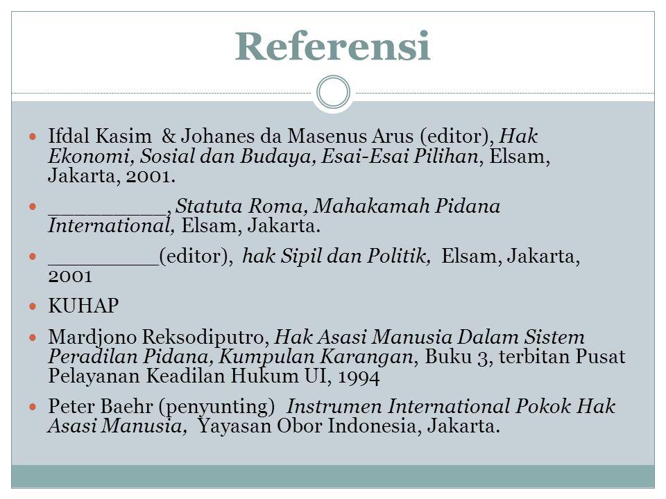 Referensi Ifdal Kasim & Johanes da Masenus Arus (editor), Hak Ekonomi, Sosial dan Budaya, Esai-Esai Pilihan, Elsam, Jakarta, 2001.