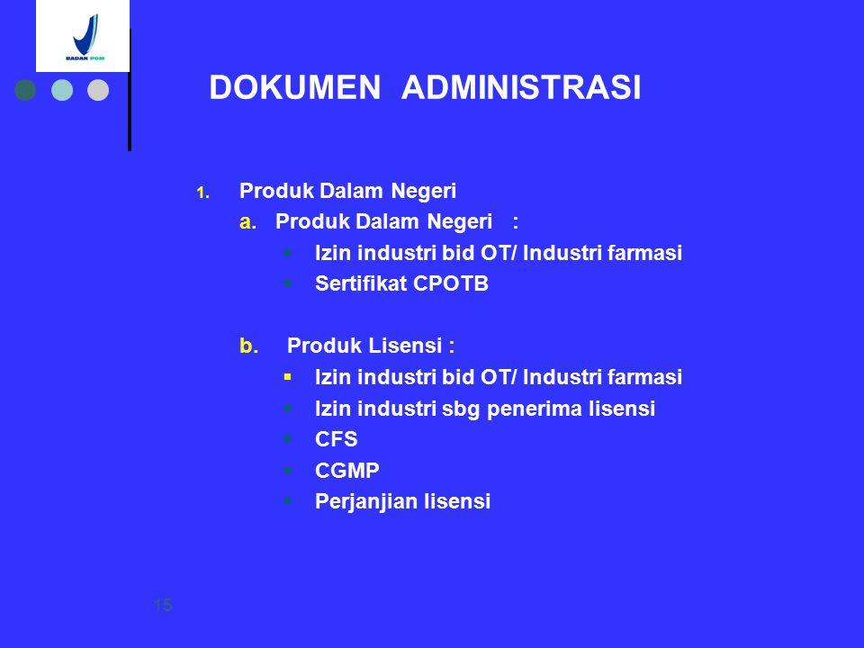 DOKUMEN ADMINISTRASI Produk Dalam Negeri Produk Dalam Negeri :